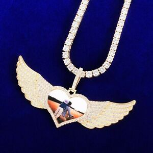 """Custom Heart Wings Pendant 18""""- 30"""" Necklace Tennis Rope Cuban Chain Hip Hop Pic"""