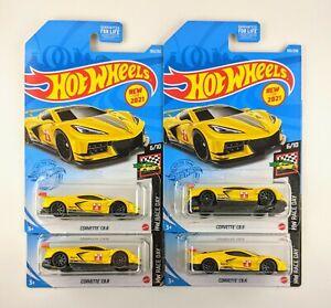 Hot Wheels Corvette C8.R - Lot of 4 🟡 Yellow 🟡 # 105 / 250
