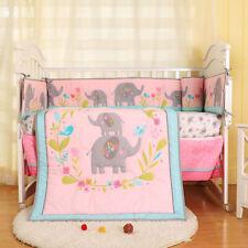 7pcs Girl Baby Bedding Set Elephant Flower Nursery Quilt Bumper Sheet Crib Skirt