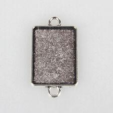 10pcs Tibetan Style Alloy Cabochon Connector Settings Rectangle Antique Silver