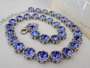 Tanzanite Blue Choker Necklace w/ Swarovski Crystal Personalized Jewelry