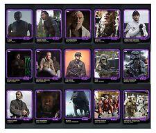 STAR WARS CARD TRADER ROGUE ONE ANNIVERSARY BASE PURPLE SET -15 CARDS - NO AWARD