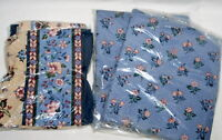 Vtg Curtain Balloon Valance Rod Pocket French Celebration Blue Floral Country