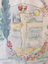 Ecole Provençale dessin ancien Bacchante au tambourin Mythologie french art deco