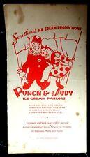 Rare Vintage PUNCH & JUDY ICE CREAM PARLOR MENU PROGRAM Marionette Puppet Show