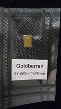 1g GOLDBARREN mit ZERTIFIKAT ESG vakuumdicht eingeschweißt Geschenk Goldmünze