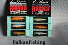 Rapala Limited Edition,100th Anniversary,Lot of 6,Color:ARR/EIR/PER/ESK/ENS/RIS