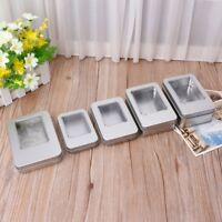 Rectangular Tin Silver Storage Box Case Organizer with Half Clear Window Lid New