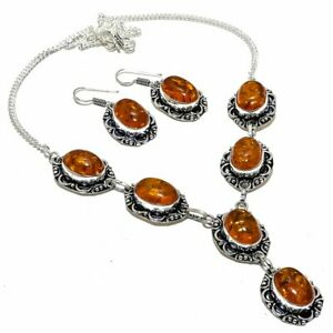 Baltic Amber Gemstone Ethnic Silver Jewelry Set Necklace+Earring SLG3871