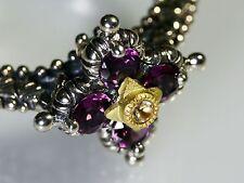 Barbara Bixby Rhodlite Sterling Silver 18K Gold Signature Flower Ring Size 10