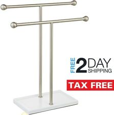 Hand Towel Stand Free Standing Holder Counter-top Bathroom Rack Organizer Double
