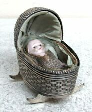 Precious Porcelain Baby & Mini Sterling Silver Rocker With Hand Made Interior