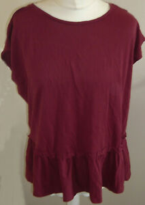 NEXT Dark Red Pyjama Top Size M 12/14 Deep Frill Hem 100% Cotton New