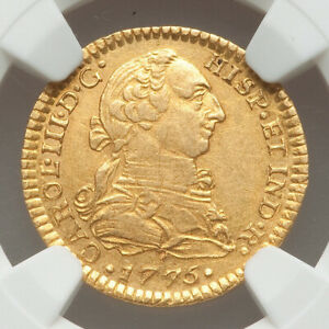 1775 Mexico GOLD 1 Escudo NGC AU55 Charles III only 3 finer at NGC and PCGS