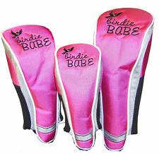 Birdie Babe Hot Pink Headcovers Golf Club Head Covers Set of 3 -Lg, Med, Small