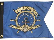 "Nautical Keep Calm Boat On 12"" x 18"" Two Sided 200denier Fade Resist Flag Usa"