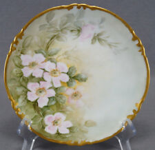 Limoges Hand Painted Signed JNP Pink Wild Roses & Gold Dessert Plate Circa 1900