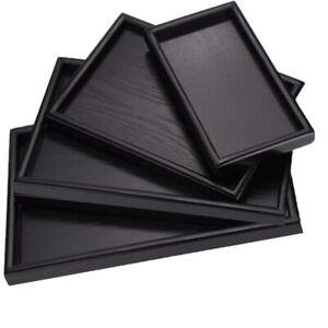 Black Rectangular Wooden Tea Tray Solid Wood Decorative Serving Dessert Tray