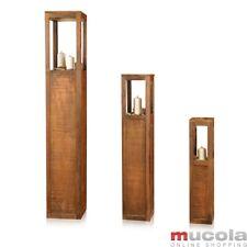 Laterne Windlichtset Windlicht Holzlaterne Säulen Kerze 3 tlg Set Landhaus Braun