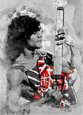 Eddie Van Halen Poster Watercolor Style Art Print 13x19 Black & White Van Halen