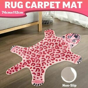 Pink Leopard Faux Fur Animal Print Area Rug Soft Non Slip Bedroom Carpet Mat