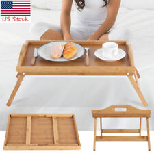 Portable Wood Bed Tray Lap Desk Serving Table Food Computer Folding Legs Bamboo