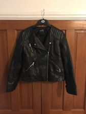 Women's Wallis Faux Leather Jacket, Black, Size 14