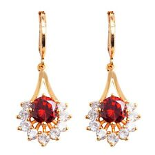Sweet White Red Round Cubic Zircon Gold Plated Girl Flower Drop Dangle Earrings
