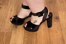 Chunky black velvet open toe platform heels size 7