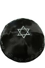 Jewish Black satin Kippah Kipa Yarmulke Silver Star of David ornate designs