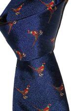 "$135NWT CHARLES TYRWHITT London Navy PHEASANT men's English 3.5"" woven silk tie"