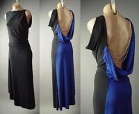 Sale Black Blue Drape Gold Chain Open Back Backless Gown Long 143 mv Dress S M L