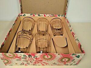 Five Vintage Juice Glasses Tumblers Shots Mid Century Gold Gilt Rims FloralBox