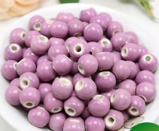 un lote 20 cuentas de cerámica-bola de cerámica rosa violeta- para DIY bisuteria