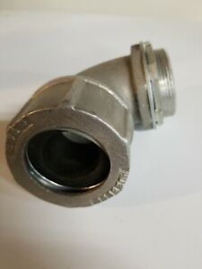 """Used HUBBELL 2F6-90  2"""" 90 DEGREE STRAIN RELIEF CORD GRIP CONNECTOR"""