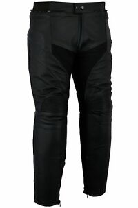 BUSA Bikes Gear Misano Cowhide Black Leather Motorcycle Touring Jeans Trousers