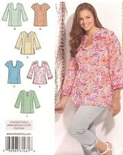 Simplicity 1461 Pattern Pullover Tunic Top  Plus Size 20W-28W Uncut 6 Variations