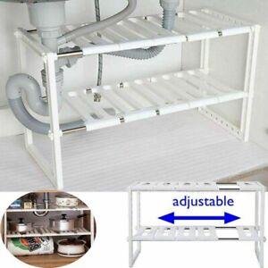 Adjustable Kitchen Rack Under Sink Cupboard Organiser Storage Support Tidy Shelf