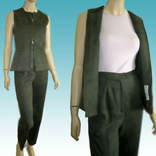 New Poly SUEDE SUIT Sz 4/S Zip-Up/Down Peplum Vest & Pants MADE IN USA in Olive