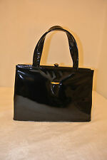 Vintage Crown Lewis Black Patent Leather Structured Purse w/Goldtone Accent