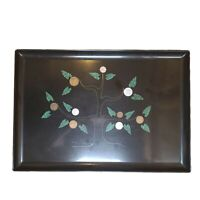 Large Vintage Couroc Inlaid Black Lacquer Cocktail Tray Tree Foreign Coins