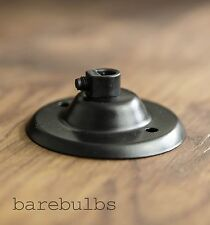 Black ceiling rose with cord grip -vintage industrial retro-