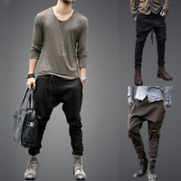 Men Elastic Harem Low Drop Crotch Baggy Hip Hop Cargo Chino Pants Trousers Slack