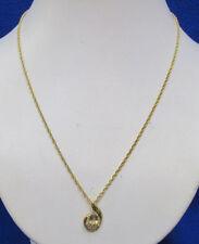 Necklace w/ Pendant Citrine Stone & Austrian Crystals Gold Tone Jewelry
