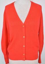 Prada Womens Cashmere Knit Cardigan Sweater Button Up Size 46 US 10 Orange Red