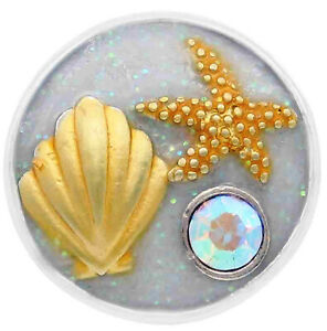 Enamel Gold Ocean Shell Starfish 18mm 20mm  Snap Charm Button For Ginger Snaps