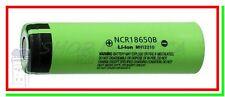 Batteria Pila Litio Ricaricabile PANASONIC NCR 18650 B 3400mAh Flat Pole Li ion