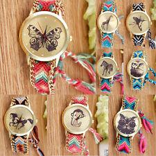 Damen Geflochten Armband Armbanduhr Quarzuhr Tiermotive Freundschaft Pink PD