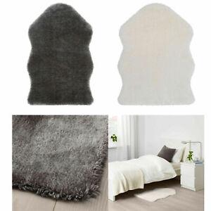 NEW IKEA TOFTLUND Faux Sheepskin Rug Soft Throw Bedroom Lounge White Grey 55x85c