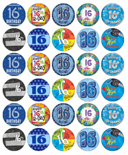 30x 16th Birthday Boy Blue Cupcake Toppers Edible Wafer Paper Fairy Cake Toppers